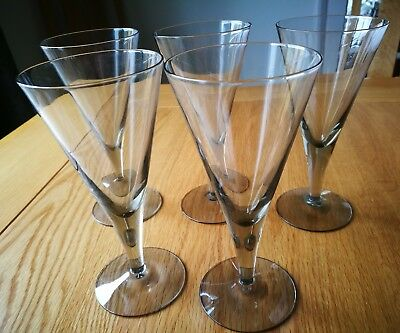 5 X VINTAGE 1950'S HOLMEGAARD CLAUSHOLM 5oz SMOKE PLAIN WINE GLASSES IN BOX
