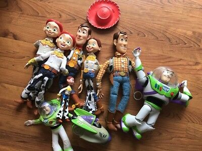 Disney Pixar Toy Story Woody Jessie Pull String Talking Doll Red Hat Buzz Lot!!