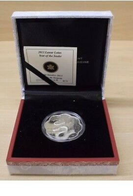 2013 Canada $15 Fine Silver Lunar Lotus - Year of the Snake With COA & Box