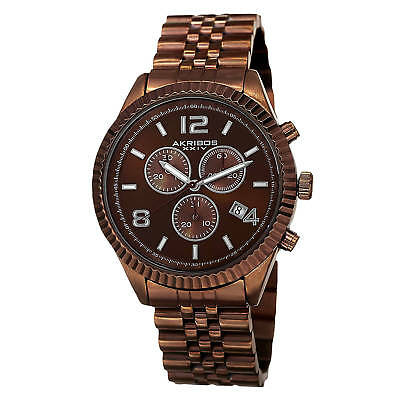 Akribos XXIV Men's Swiss Quartz Chronograph Stainless Steel Brown Bracelet Watch
