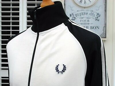Fred Perry Ivory/Navy Twin Taped Track Jacket - M/L - Ska Mod Scooter Casuals