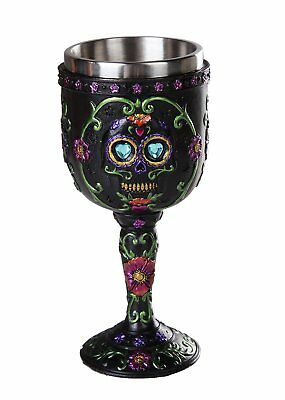 Day of the Dead Celebration Black Sugar Skull Floral Collectible Wine Goblet 7oz