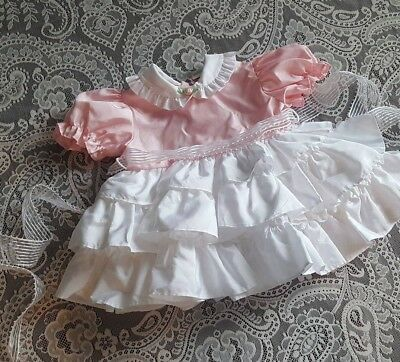 Vintage Baby Girl Pink White Ruffled Party Dress Childrens Clothes 12m