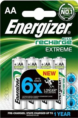 4 x Energizer AA EXTREME Rechargeable Batteries 2300 mAh Pre Charged NiMH LR6