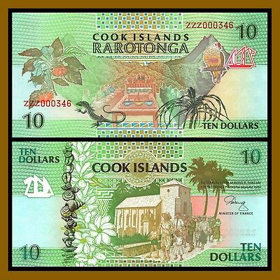 Cook Islands 10 Dollars, ND 1992 P-8 Replacement ZZZ Prefix Unc