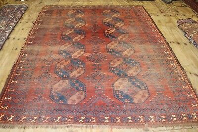 ca.1880 AMAZING OLD ANTIQUE TURKMAN ERSARI RUG  9X7.6 ft