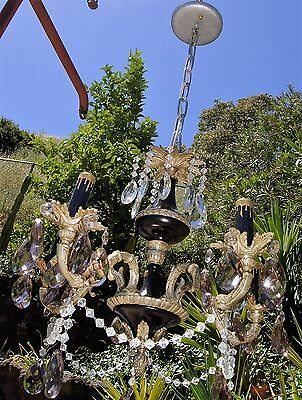 VTG DECO FRENCH EMPIRE REGENCY PETITE CRYSTALS CHANDELIER CEILING FIXTURE 1950's