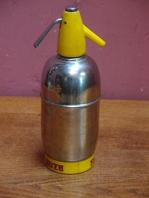 """Vintage Sparklets Soda Siphon Chrome and Yellow Base Advertising """"Suze"""" Aperitif"""