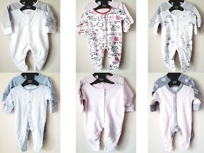 Baby Boys Girls Ex Store 2 Pack Assorted Babygrow Sleepsuits 2X Babygrows