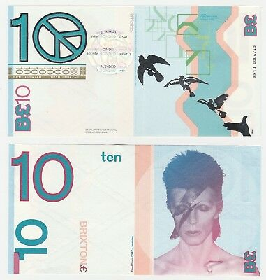 United Kingdom - Brixton 10 Pounds UNC Local Currency Banknote - David Bowie
