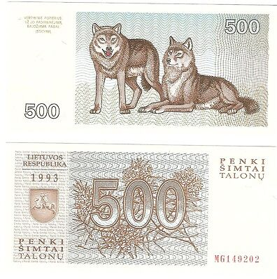 Lithuania 500 Talonas 1993 P-46 UNC Uncirculated Banknote - Wolf Wolves