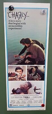 "~1968 CHARLY Insert Poster 14""x36"" Cliff Robertson, Claire Bloom PSYCHOLOGICAL"