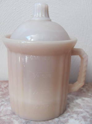Dry Measuring Cup w/ Lid - Crown Tuscan Pink Milk Glass - USA - 2 Piece