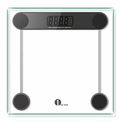 1byone Digital Body Weight Bathroom Scale, 180kg/400lb, Tempered Glass and Black