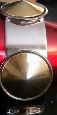 Signed Givenchy,Silver Tone Bracelet & Gold Tone Accents Wide Studded Bangle,87g