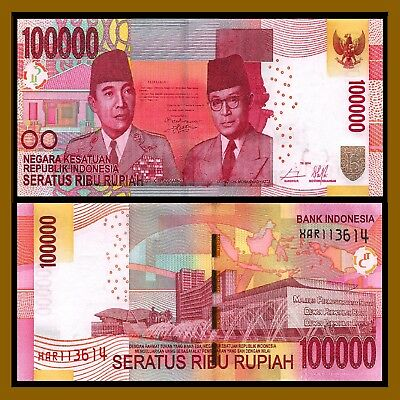Indonesia 100000 (100,000) Rupiah, TE 2014 P-153e Replacement  X Unc