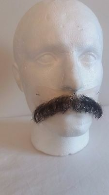 Quality Fine Lace Yak/ Human Hair Black Brown Moustache Postiche Film Theatre TV