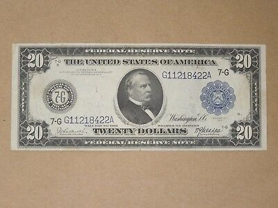 1914 Us Federal Reserve Large Note $20 Burke-Mcadoo Chicago Il Blue Seal