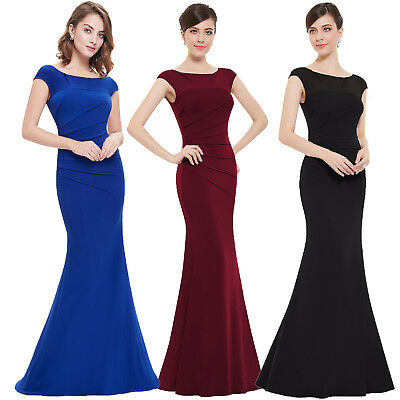 Womens V Back Bodycon Bandage Formal Evening Ball Gown Prom Long Maxi Dress UK