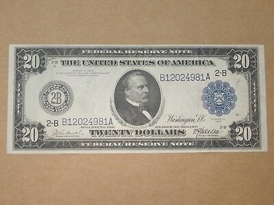 1914 Us Federal Reserve Large Note $20 Burke-Mcadoo New York Ny Blue Seal