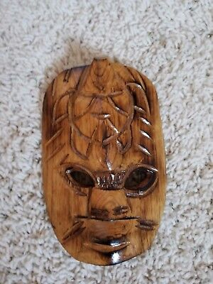 Hand Carved Wood Decorative Mask, Light Brown, Wall Hanging