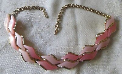Pretty Vintage Art Deco Pink Thermoset Necklace ~ Choker Style ~ Buy Now !