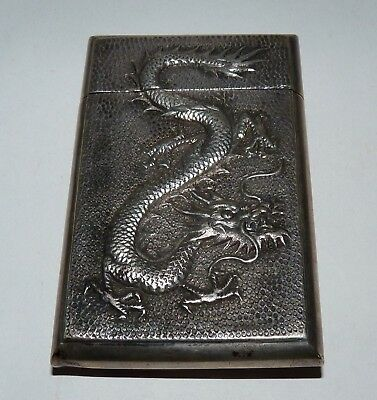 Antique Chinese Sterling Silver Calling Card Box, Dragon, Heart, 50 Grams.