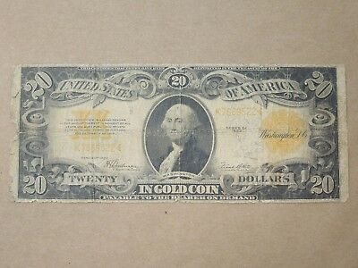 1922 Us Large Note $20 Gold Coin Certificate Speelman-White Fr1187