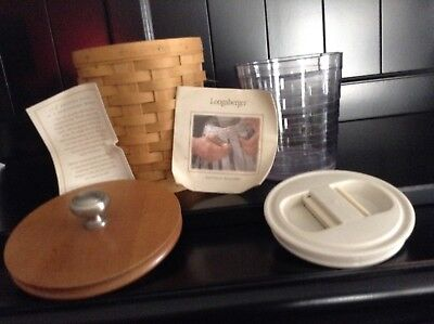 Longaberger Small Canister Basket Lid Protector Sealable Lid 4 Piece EUC Mint