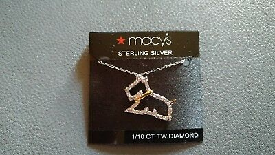 Scottish Terrier Scotty Dog Necklace Macy's Sterling Silver 1/10 CT TW Diamond