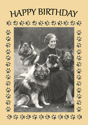Keeshond Dogs And Lady Dog Birthday Greetings Note Card