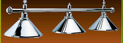 Chrome Pool Table   Light Snooker Football Lighting 3 Light Shades Ce & Rhos