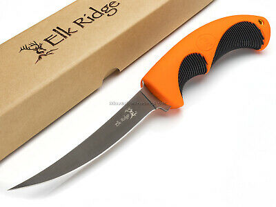 Elk Ridge Fillet Knife Fixed Blade Blaze Orange Rubber Grip Handle ER20002F