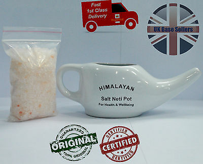 New Allergy Relief Nety Pot Nasal Nose Wash Ceramic Pot With Organic salt 300gms