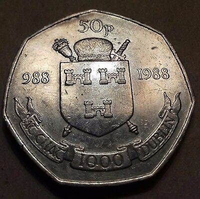 1988 Irish 50p Dublin millennium, condition as advertised