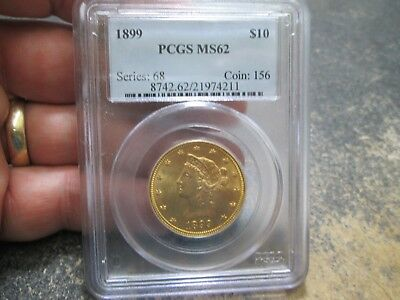 1899 10 Dollar Liberty Gold Coin In Pcgs Ms62 Uncirculated Condition