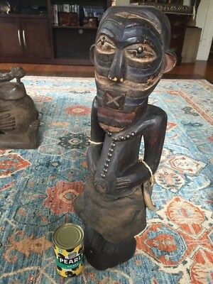"""Songye Tribe African Ritual Sculpture With Adornments Mid 1900s 24"""" Tall"""