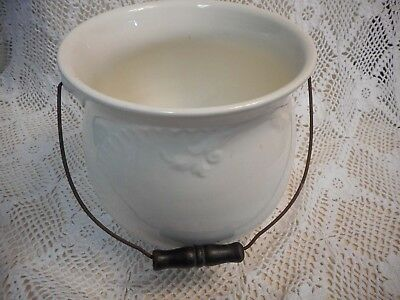 VTG WEPCO China PEE POT w/Handle Chamber pot White Porcelain Gorgeous & Heavy