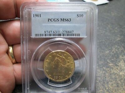 1901 10 Dollar Liberty Gold Coin In Pcgs Ms63 Uncirculated Condition