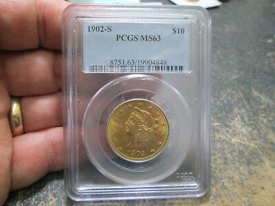1902 S 10 Dollar Liberty Gold Coin In Pcgs Ms63 Uncirculated Condition