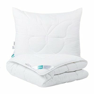 4home 202041 Quilt and Pillow mariposa Classic Set, poliéster, White, 200 x 140