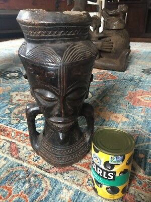 """Kuba Fine Carved Palm Wine Cup - Early To Mid 1900s 13"""" Tall"""