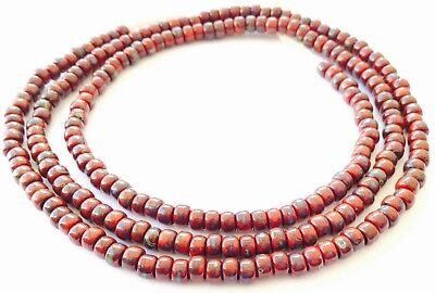 Fine vintage Dark Red Picasso matching 4mm glass beads Trade Beads