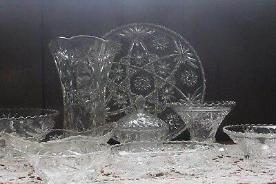 Anchor Hocking Glass EAPC EAPG Star of David Dish Set