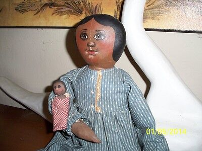 """Artist Sue Johnson 1989 Black cloth Folkart Doll&Baby Signed and Numbered 18"""""""