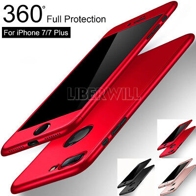 360° Full Cover Hybrid Hard Thin Case For iPone 8 6S 7 Plus X SE +Tempered Glass