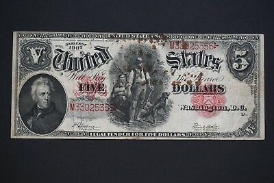 1907 $5 Five Dollar Large Size Woodchopper Legal Tender Large Size Note #2