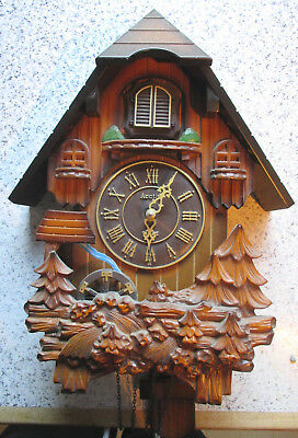 WOODEN CUCKOO CLOCK with Water mill - needs new battery connection - was working