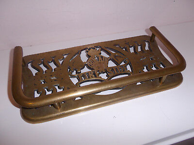 Rare Victorian Greenlees Glasgow Fire Side Brass Trivet  Inglenook Fireplace