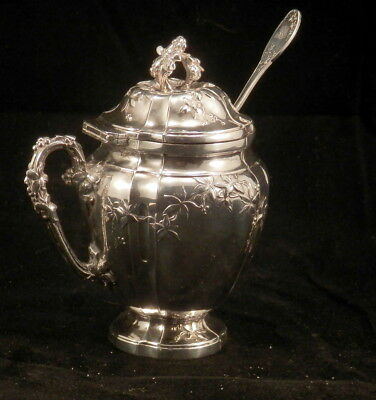 SILVER MUSTARD POT glass insert matching spoon unmarked American antique